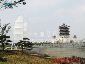 泰安汶河景区船帆膜结构景观